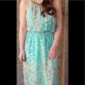 NWT! Vince Camuto turquoise chiffon maxi dress 14